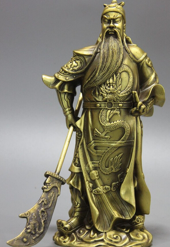 Collectible-bronze-lion-statue-S1072-China-Brass-Copper-Warrior-Dragon-Guan-Yu-God-Guan-Gong-Hold